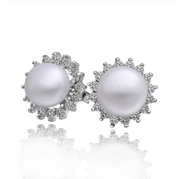 Jenny Jewelry E002 Brilliant Tiny Artificial Pearl Earring