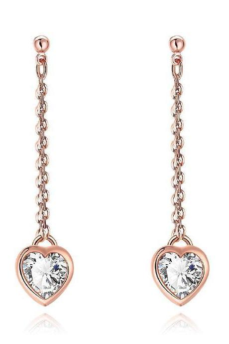 Drop and Dangle Linked Chain Earrings Featuring Diamond Heart