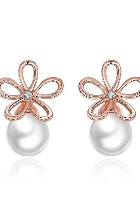 Double Sided Floral and Pearl Gold Plated Studded Earrings