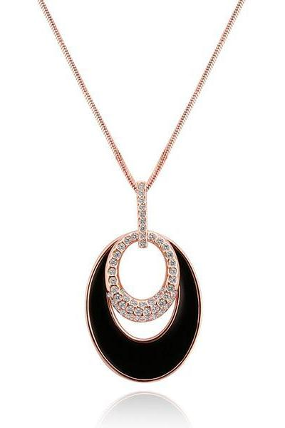 Jenny Jewelry M010 Fashion Elegant Temperament Round Long Sweater Necklace pendants 18K Real Gold