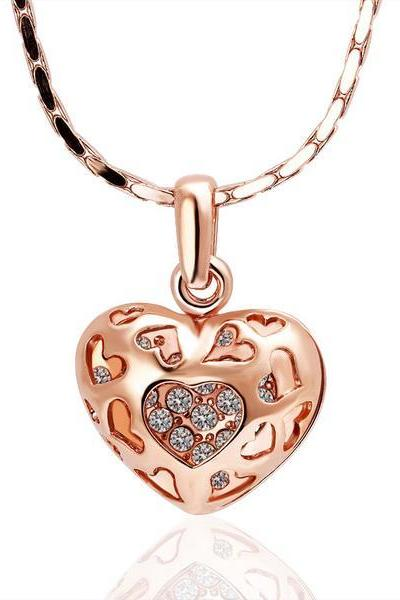 Jenny Jewelry N002 18K Real Gold Plated Hollow Heart Fashion 18K Golden Heart Jewelry