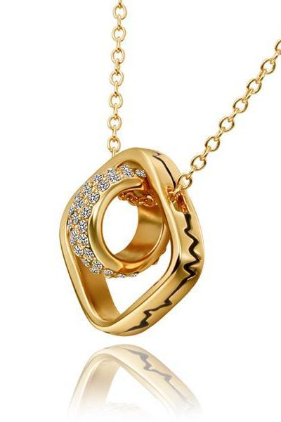 Jenny Jewelry N630 18K Real Gold Plated Charm Ball In Hollow Square Pendant New Product