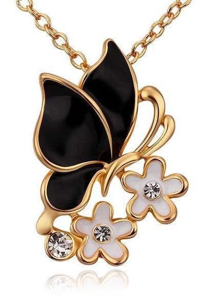 Jenny Jewelry N694 Free Anti-allergic 18K Real Gold Plated Fashion Butterfly Elegant Necklace