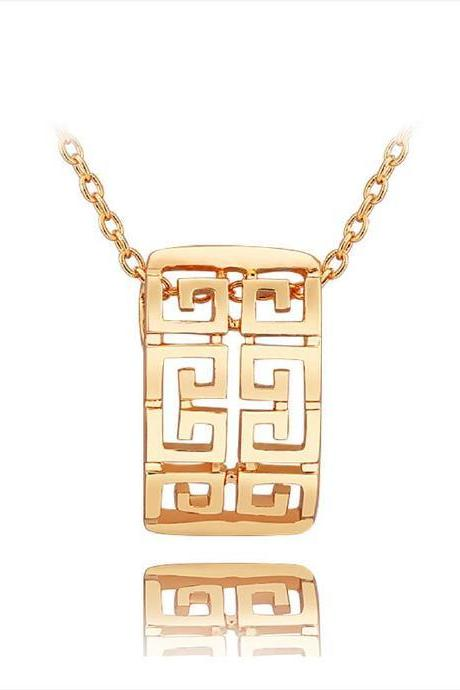 Jenny Jewelry N742 18K Real Gold Plated Necklace pendantsNew Fashion JewelryFor Women