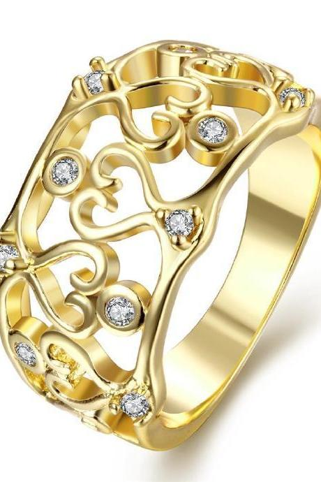 Jenny Jewelry R109-A-8 High Quality New Fashion Jewelry 24K Plated zircon Ring