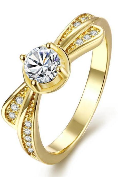 Jenny Jewelry R112-A-8 High Quality New Fashion Jewelry 24K Plated zircon Ring