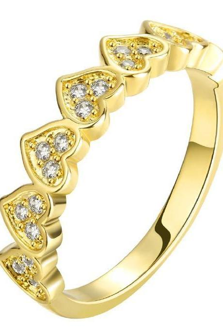 Jenny Jewelry R118-A-8 High Quality New Fashion Jewelry 24K Plated zircon Ring ,Available Size 7,8