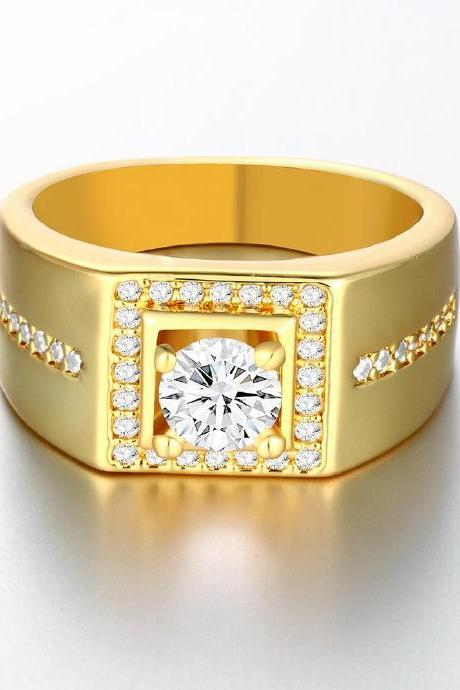 Jenny Jewelry R126-A-8 High Quality New Fashion Jewelry 24K Plated zircon Ring