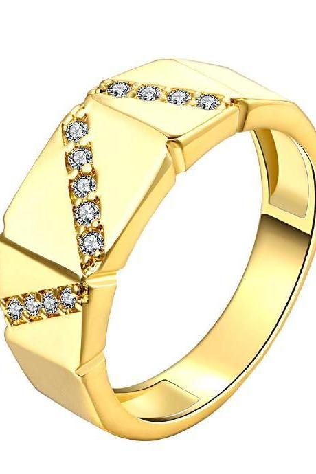 Jenny Jewelry R148-A-8 High Quality New Fashion Jewelry 24K Plated zircon Ring