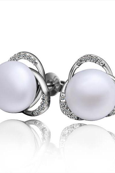 Jenny Jewelry E004 Brilliant Tiny Artificial Pearl Earring