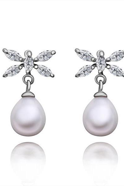 Jenny Jewelry E009 Brilliant Tiny Artificial Pearl Earring