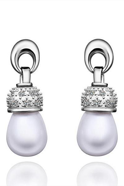 Jenny Jewelry E016 Brilliant Tiny Artificial Pearl Earring