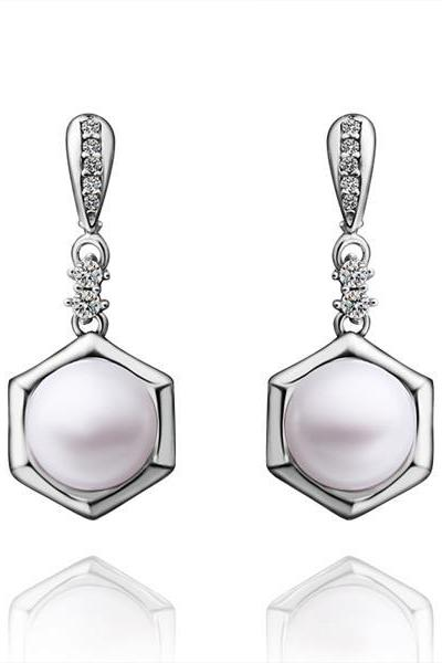 Jenny Jewelry E028 Brilliant Tiny Artificial Pearl Earring