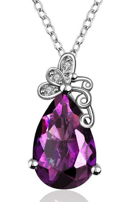 Jenny Jewelry FVRN007 Fashion High End Platinum Plating Ladies Necklace Crystal Pendant