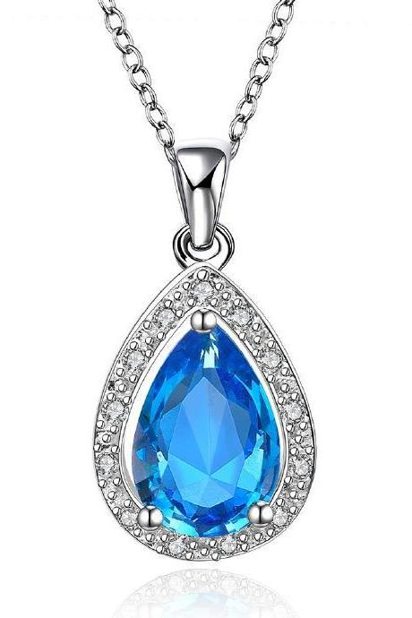 Jenny Jewelry FVRN014 Fashion High End Platinum Plating Ladies Necklace Crystal Pendant