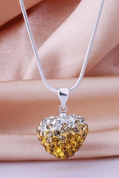 Jenny Jewelry N017 Mix color jewelries necklace Drop pendant Necklace Crystal Silver jewelry for women