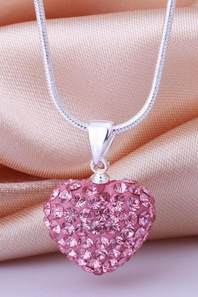 Jenny Jewelry N024 Mix color jewelries necklace Heart pendant Necklace Crystal Silver jewelry for women