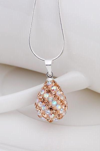 Jenny Jewelry N070 Mix color jewelries necklace Drop pendant Necklace Crystal Silver jewelry for women