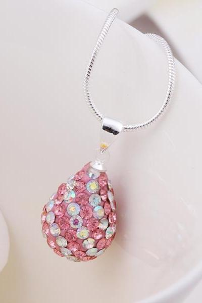 Jenny Jewelry N078 Mix color jewelries necklace Drop pendant Necklace Crystal Silver jewelry for women