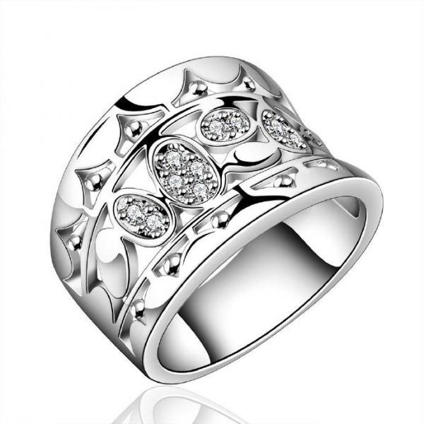 Jenny Jewelry R570 Silver Plated New Design Lady Ring