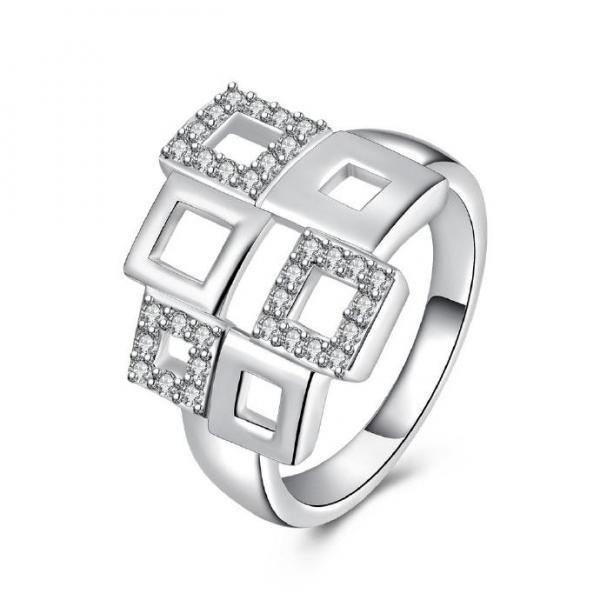 Jenny Jewelry R709 Attractive Design Different Styles Silver Plated American Diamond Rings