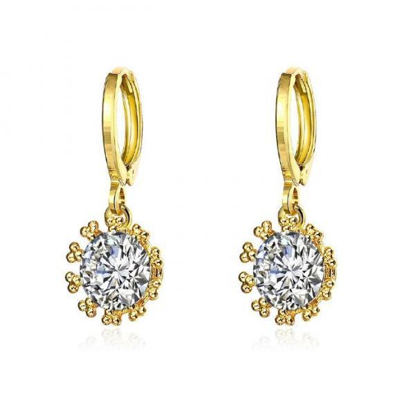 Jenny Jewelry E072-A 18K Gold Plating High Quality Ziccon Fashion Earring