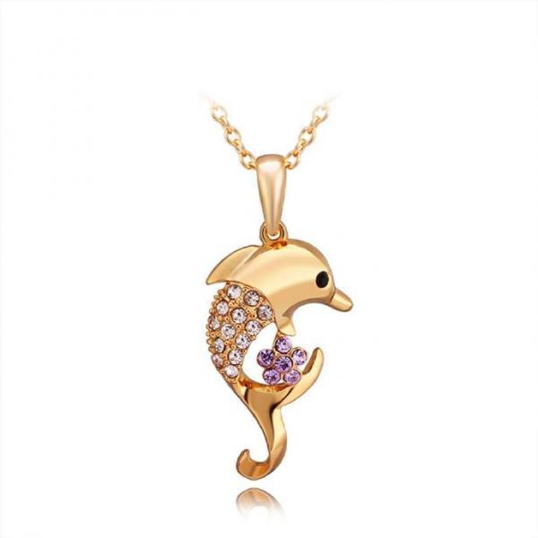 Jenny Jewelry N736 18K Real Gold Plated Necklace pendantsNew Fashion JewelryFor Women
