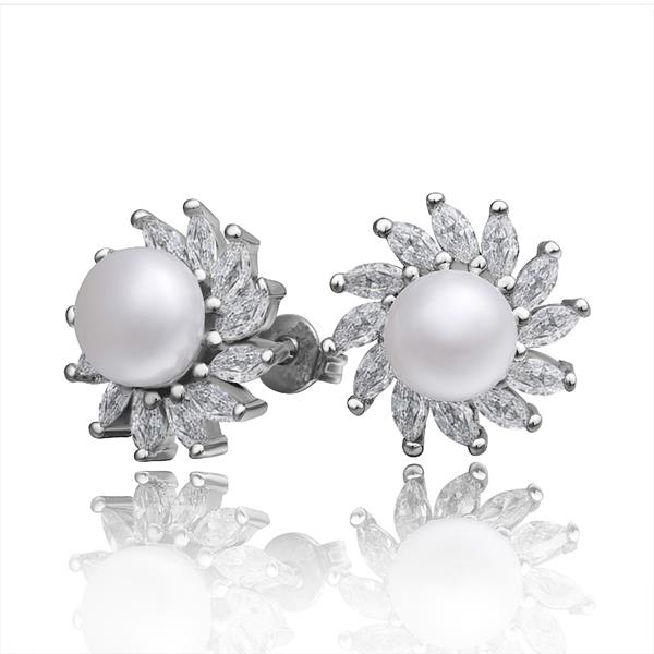 Jenny Jewelry E010 Brilliant Tiny Artificial Pearl Earring