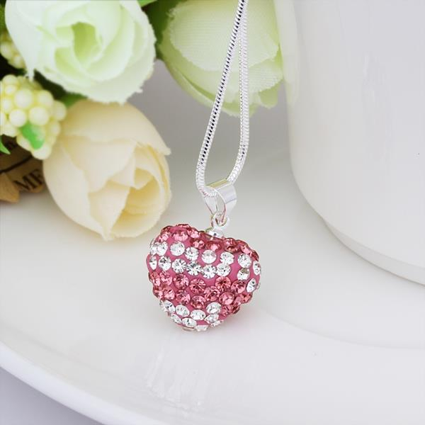 Jenny Jewelry N102 Mix color jewelries necklace Heart pendant Necklace Crystal Silver jewelry for women
